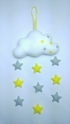Handmade felt baby mobile cloud with yellow and grey stars, nursery, gift