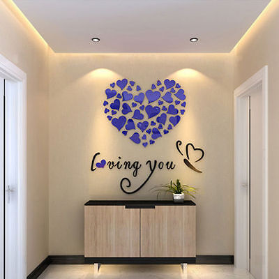 Lovely Mirror Hearts Home 3D Acrylic Wall Stickers Decor DIY Decal Removable