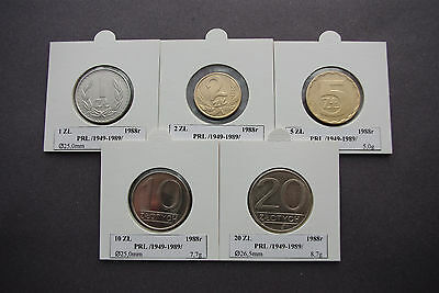 5 coins of Poland 1988 old zloty collectible set