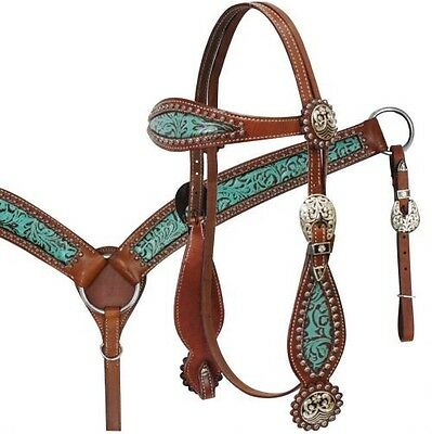 SHOWMAN Bridle & Breast collar Set w/ TEAL Filigree Print & Antique Conchos! NEW