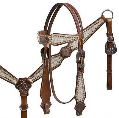 Showman MEDIUM OIL Leather Silver Filigree Headstall and Breast Collar Set! TACK