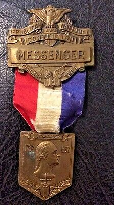 1932 Republican Nat'l Convention Badge MESSENGER