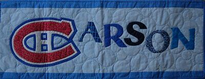 Personalized custom made hand quilted name banners - examples shown