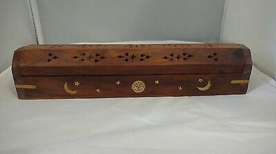 """New Coffin Box Sun & Moon incense burner for sticks & cones12"""" wood Hand carved"""