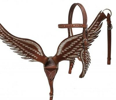 Showman MEDIUM OIL Angel Wing Leather Headstall & Breast Collar Set! HORSE TACK!