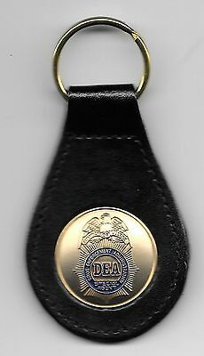 DEA LEATHER KEY TAG Special Agent * U.S. Drug Enforcement + 1 Free DEA Sticker
