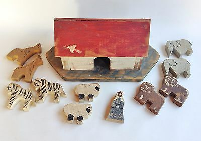 American Folk Art hand carved NOAH'S ARK, animals & one person - 12 piece