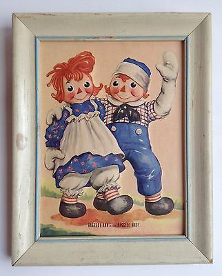 Vintage Georgene Novelties RAGGEDY ANN & ANDY Dimensional Picture