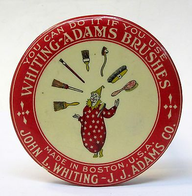 vintage WHITING-ADAMS BRUSHES Boston Juggling Clown paperweight pocket mirror *