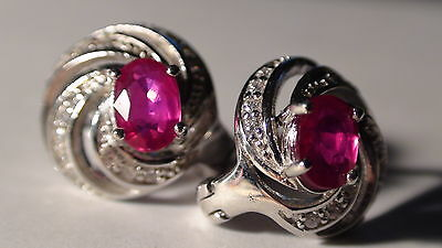 NATURAL RUBY 925 STERLING SILVER EARRINGS 28.90 CT, Vintage Estate Jewelry $450
