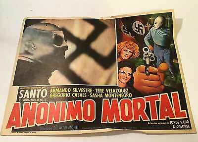 ANONIMO MORTAL Mexican Lobby Card Movie Poster Wrestling SANTO NAZI Lucha Libre