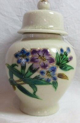 "SMALL VINTAGE PORCELAIN URN RAISED HAND PAINTED BLUE & PURPLE FLOWERS 4.5"" Tall"