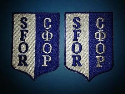 2 Lot NATO UN SFOR U.S. Canadian U.K. Military Peace Keeping Hat Patches Serbia