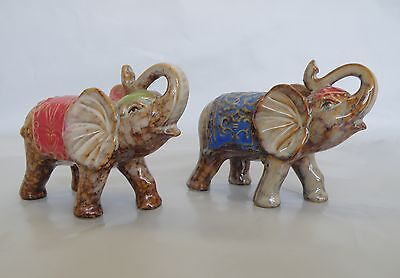 Pair Of Decorated Indian Elephant Ceramic Figurine/Statue *NEW*