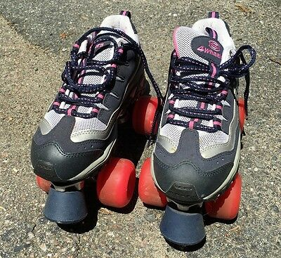 SKETCHERS Sport Women's 4 Wheelers Roller Skates Navy Pink Silver Size US 7