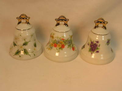 Three Lefton Porcelain Bells Same Shape All Very Nice Priced Right