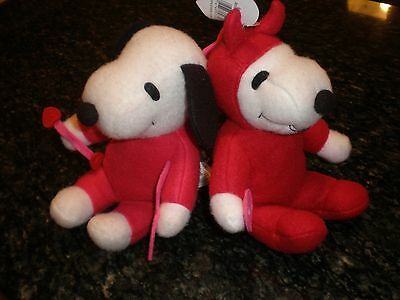 Pair of Snoopy Valentine's Day Felt Plush Cupid and Devil