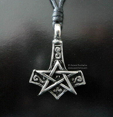 1 x THORS HAMMER PENTAGRAM PENDANT 30 x25 mmWicca Pagan Witch Goth Norse
