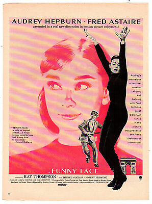 1957 Magazine Movie Poster FUNNY FACE with Audrey Hepburn and Fred Astaire