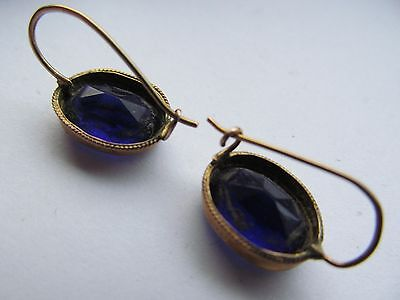 Antique 9 ct gold  blue stone earrings