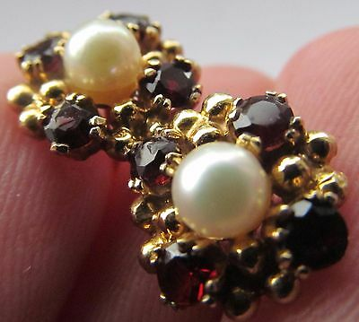Vintage 9ct yellow gold pearl and red stone earrings.