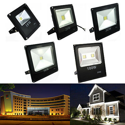 10/20/30/50/100W 85-240V LED Flood Spot Light Outdoor Garden Yard Lawn Lamp IP66