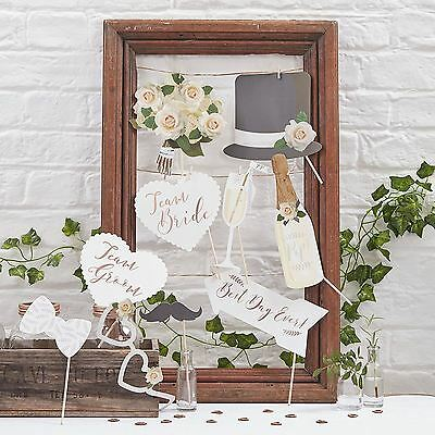 New Ginger Ray Photo Booth Wedding Rose Gold Mr & Mrs / Party Props Kit