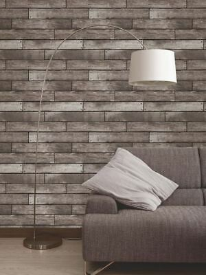 DARK BROWN & CHARCOAL WOODEN PLANK EFFECT WALLPAPER 10m - FINE DECOR WOOD