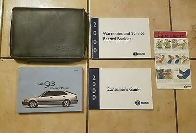 OEM 2000 Saab 9-3 Owners Manual Warranty Info Books w/ Black Carrying Case