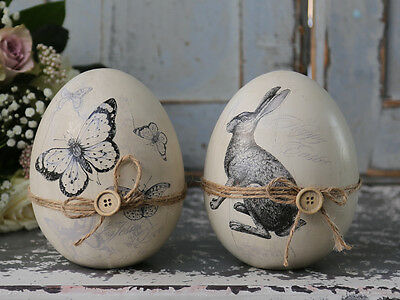 Chic Antique, vintage shabby Osterei, Hase oder Schmetterling