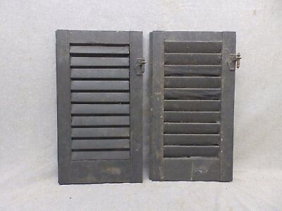 Two Antique  Shutters Window Wood Louvered Shabby Old Chic 21x12 72-17R