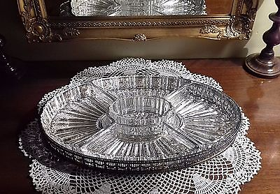 Vintage Silver Plated Tray with 5 Individual Crystal/Glass Dishes