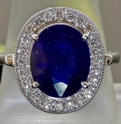5.31Ct Natural Blue Sapphire Diamond 14K White Gold Halo Engagement Ring