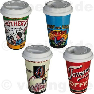"4x Kaffee-Becher mit Silikondeckel Coffee to go ""Nostalgic Coffee Brand"" 16x10cm"