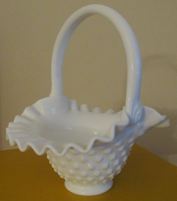 Vintage Fenton White Milk Glass Hobnail Basket Ruffled Edge Smooth Handle