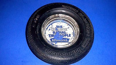 "Vintage B. F. GOODRICH ""LIFESAVER RADIAL"" Real Rubber Tire Advertising Ashtray"