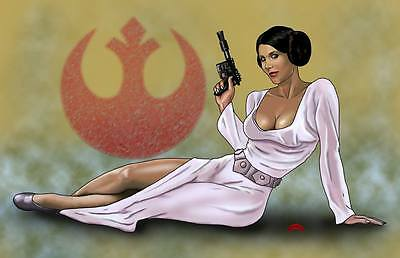 Princess Leia Organa Carrie Fisher Star Wars hero 11x17 signed print Dan DeMille