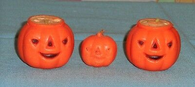 vintage Halloween GURLEY CANDLE LOT OF 3 jack-o-lantern (one tiny, 2 filled)