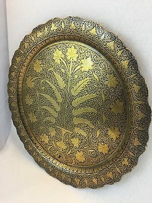 Antique Middle Eastern Ottoman Brass Hand Etched Tray