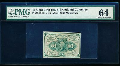 AC Fr 1242 $0.10 1862 fractional first issue PMG 64 Straight Edges w/ABNCo