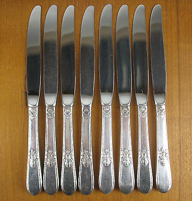 "8 x Dinner Knives 9 1/4"" 1847 Rogers Adoration 1939 silverplate modern blade"