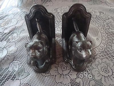 Cast Iron Pit Bull Dog Book Ends Staffordshire Terrier