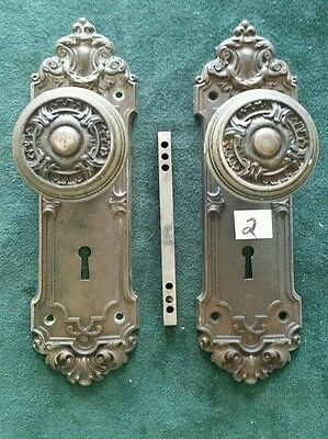 NICE VICTORIAN HEAVY CAST STEEL DOOR KNOBS AND BACKPLATES 2 1/2 by 8 inches (#2)