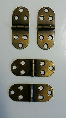 Nice Set Of 4 Vintage Looking Brass Plated Desk, Cabinet Or Table Oval Hinges