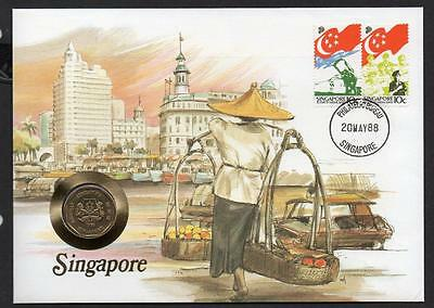 Singapore 1988 $1 Coin Cover