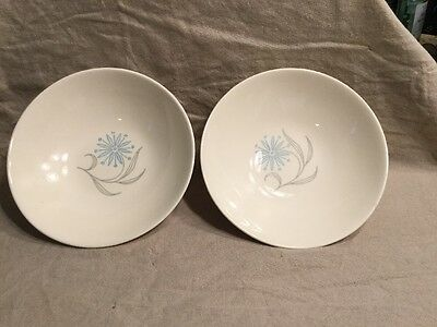 2 Homer Laughlin Coupe Cereal Bowl Blue Star Dura-Print  Retro 1963 A 66 N4