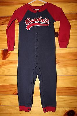 *GYMBOREE* Boys Long One-Piece BASEBALL Gymmies Pajamas Size 18-24 Months