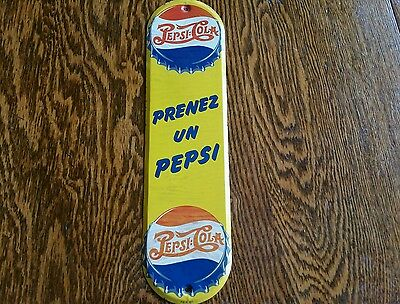 Vintage advertising pepsi cola palm push door bar sign soda french