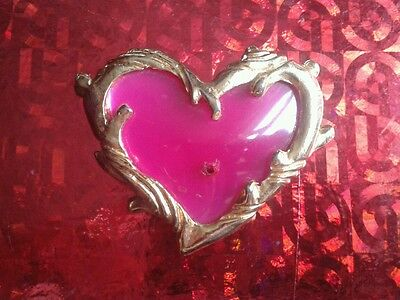 Christian Lacroix Pink Gold Heart Brooch Vintage Authentic 1980S
