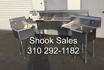 Stainless Sink package inc 3 comp., food prep LEFT DRAIN, mop and hand sink NSF